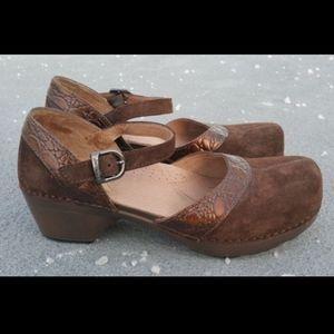 DANSKO Suede Mary Jane Leather Clog Size 6.5 7 37
